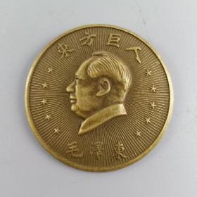 毛主席铜像章 ,