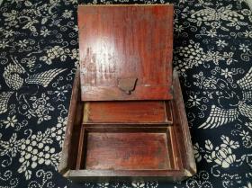 民国时期民俗用具木质上漆方形梳妆首饰盒