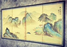 【张喜灵】款——创汇时期山水四扇屏风