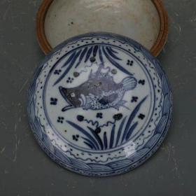 青花鱼藻纹印泥盒粉盒