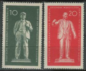 德国邮票 东德 1960年 列宁台尔曼纪念碑落成 2全新