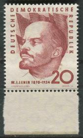 德国邮票 东德 1960年 列宁诞生90周年 雕刻版 1全新