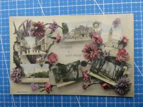 曙光女神--欧洲百年建筑风光景物-收藏集邮-复古手账-外国邮政-贴邮票实寄明信片
