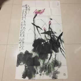 河北籍著名画家刘清作品:荷花图.(长136cmx宽68cm)