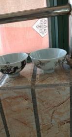 民国江西瓷业公司浮雕花鸟碗一对