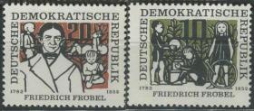 德国邮票  东德 1957年 幼儿园创始人 教育改革家福禄培尔 2全新