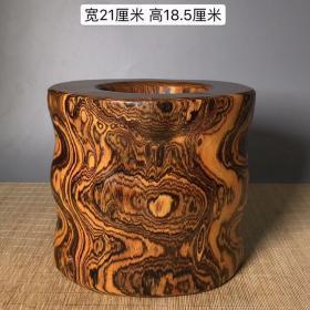 虎皮纹黄花梨大笔筒620重4.33公斤