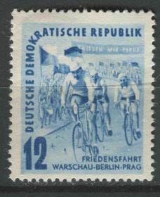德国邮票 东德 1952年 第5届国际和平自行车赛 1全新