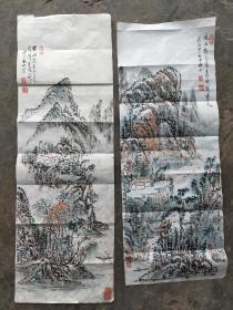 扬州著名画家   林散之女婿   李秋水  山水画2幅 尺寸(64x24),(70x24)