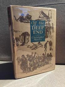 Off the Deep End(克里斯托弗·莫莱《贸然行事》,精彩随笔集,布脊精装,毛边,难得带护封,1929年老版书,带藏书票)