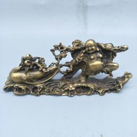 黄铜弥勒佛拉黄金袋  高:5cm 宽: 13.5cm 重量约:342.7克