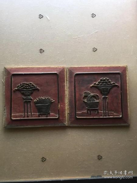 《特价》精美老木雕,清代盆景花几聚宝盆花板一对