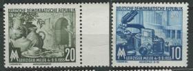 德国邮票 东德 1955年 莱比锡秋季博览会 相机 2全新