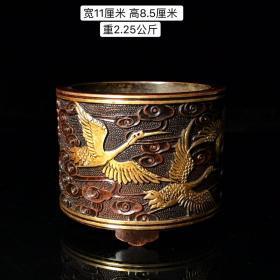 紫铜鎏金云鹤图香炉