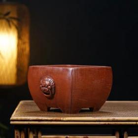 紫砂花盆民国铁画轩老盆精品景盆狮子头兰花盆早期老物件古董古玩