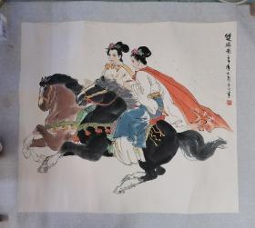 孟庆江旧裱镜片。只包手绘,售后不退。