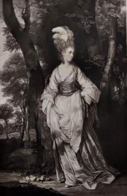 """""""雷诺兹Reynolds""""名画1902年""""英国美柔汀铜版画参展作品系列""""《卡纳克夫人》—英国皇家学院院长""""乔舒亚·雷诺兹爵士(Sir Joshua Reynolds, 1723-1792)""""作品 J.R.SMITH雕刻 40x31cm 高档美柔汀铜版画"""