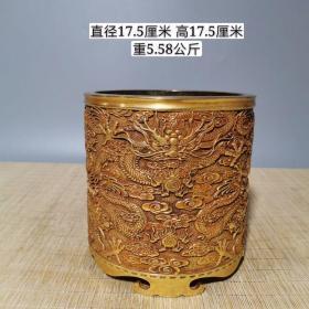 紫铜鎏真金九龙笔筒价格6300元,重5.58公斤