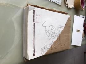 出版社流出《儿歌童谣》插图绘画原稿363张一套全,16开,每张上角均有墨笔编号(仔细数了一下,363页一张也不少),每张原稿上均有红笔文字介绍,标明书名,插图的名字,插图所在书的页数等信息