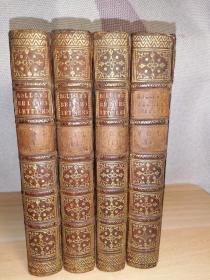 1759年 Rollin BELLES LETTRES   4本全  全牛皮装帧  烫金竹节皮脊   17.5X10.5CM  每本均有一副藏书票