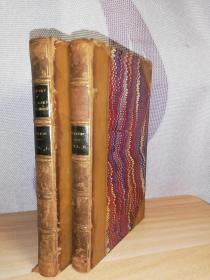 1834年  LECTURES UPON THE HISTORY OF LOUR LORD AND SAVIOUR JESUS CHRIST  2本合售 半皮装帧  书口花纹  18X11CM