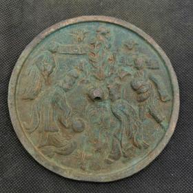 古玩铜器收藏,仿古铜镜,花草繁盛,蹴鞠玩乐,纹饰优美