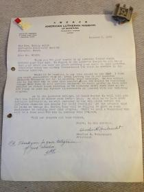 1948年美国在山东信义差会会长致长沙挪威信义会吉利烈牧师关于信义大学等内容的信札,会长签名