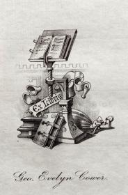 "英国艺术家""THOMAS MORING""铜版藏书票  票主: Geo evelyn cower 1901"