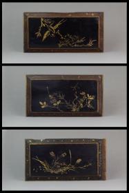 民国古董古玩杂项精美漆器家具装饰描金漆绘喜上眉梢花板三只包邮
