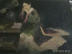 画在三合板上的老油画