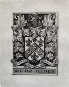 "英国艺术家""THOMAS MORING""铜版纹章藏书票  票主: WILLIAM HUGHES 1901"