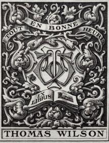 "英国艺术家""THOMAS MORING""铜版藏书票 票主:THOMAS WILSON 1901"
