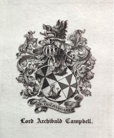 """英国艺术家""""THOMAS MORING""""铜版纹章藏书票  票主: Lord Archibald Campbell 1901"""