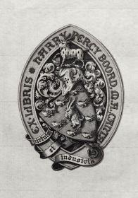 """英国艺术家""""THOMAS MORING""""铜版纹章藏书票  票主: H.P.BOORD 1901"""