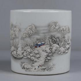 雪景纹笔海大笔筒