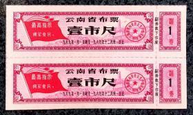 云南省布票1969年壹市尺双连枚1张,共2枚
