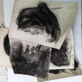 1981年,素描原作,人物写生,5张合售