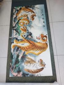 中国美协理事谭乐丹作品老虎一幅约8平尺原装裱。