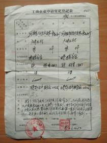 工商企业申请变更登记表(开封市汴南第一食品加工厂)