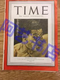 """【现货】时代周刊杂志 Time Magazine, 1941年,二战特别报道,封面 """"(美国职业拳击手)路易斯,被誉为""""褐色轰炸机"""",辉煌战绩为69胜3负,其中55场击倒对手。珍贵史料!"""