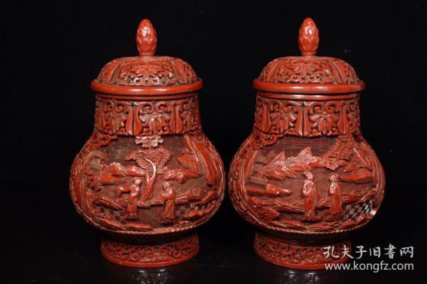 剔紅漆器將軍罐一對,1250