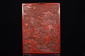 剔紅漆器人物故事方掛屏,660