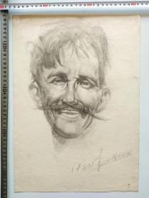 80年代铅笔人像素描速写画稿原作《短胡子男子》(198011)