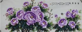 张钰瑛小六尺牡丹,紫气东来花开富贵,画心180+70厘米