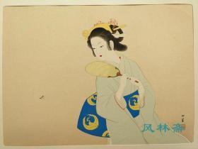 4开木版画 上村松园绝笔作《初夏之夕》手工85遍拓刷 日本绘画史代表作
