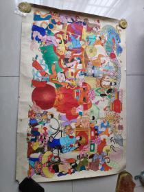 著名四川画家 曾纪纲 纯手绘大幅彩色年画 (终身保真长107宽72)