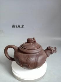 乡下收的传世雕龙老紫砂壶
