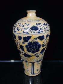 青花手绘花开富贵梅瓶