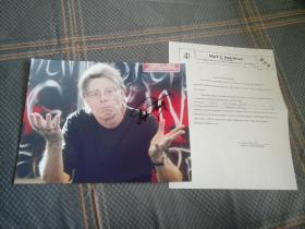 【签名照】著名作家 斯蒂芬·金 签名照 带证书