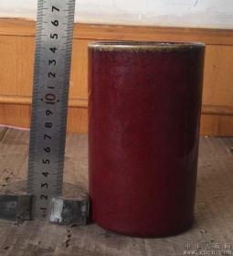 A800均红釉笔筒